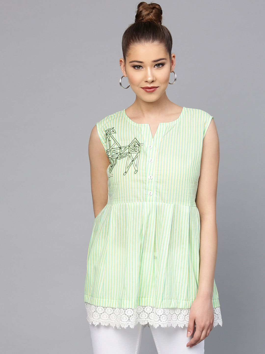 Yufta Green & White Striped Tunic
