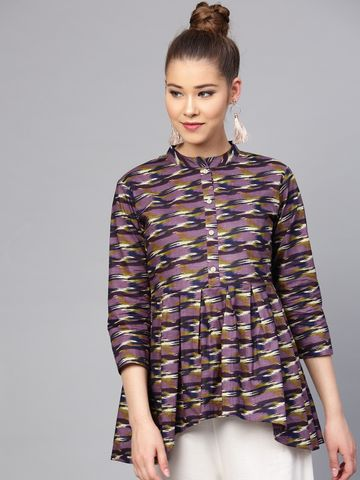 Yufta Purple & Off-White Printed Tunic