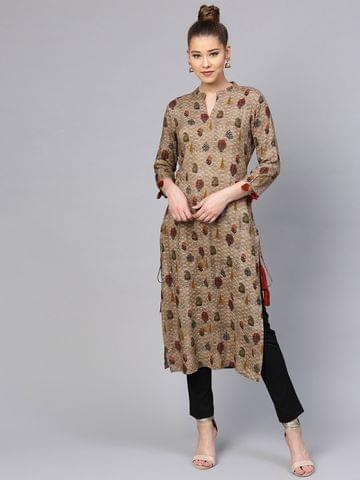Yufta Women Brown & Green Printed Straight Kurta