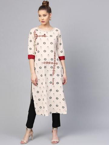 Yufta Women Off-White & Grey Printed Straight Kurta