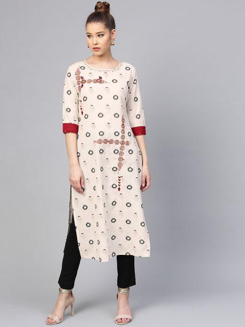 Yufta Women Off-White & Grey Printed Straight Kurta