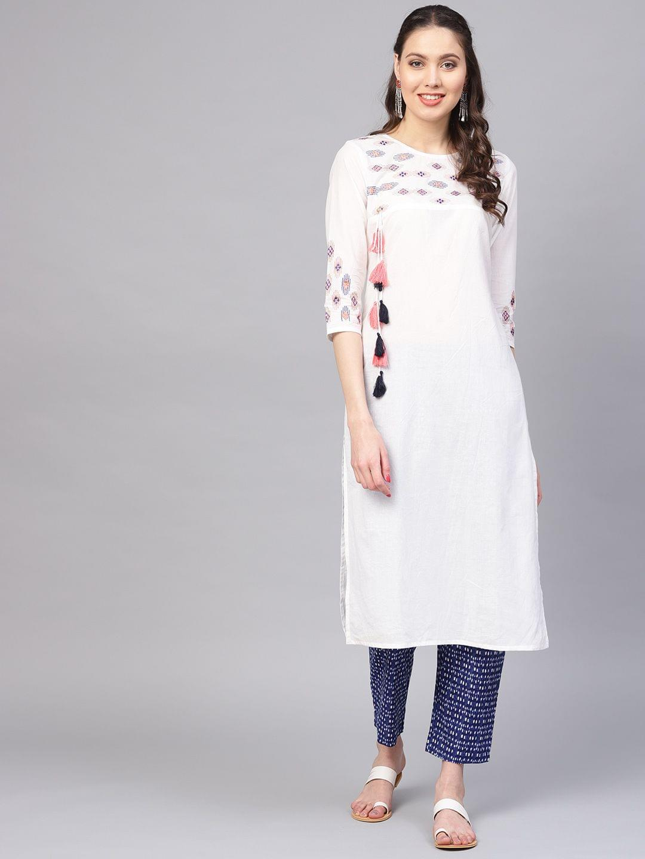 Women White & Blue Yoke Design Kurta with Trousers