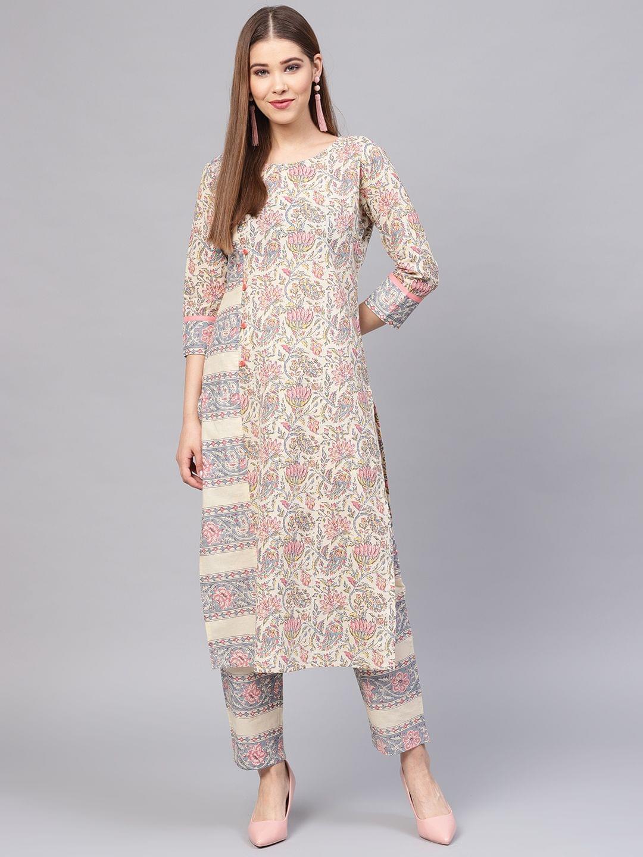 Women Beige & Grey Printed Kurta with Trousers