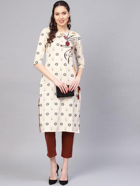 Women Off-White & Grey Printed Straight Kurta