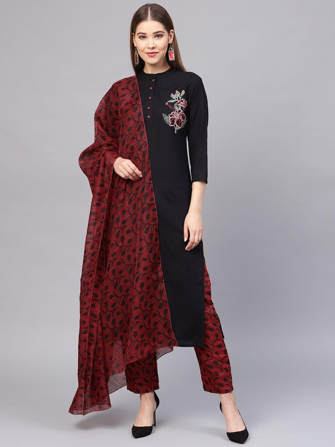 Women Black & Maroon Solid Kurta with Trousers & Dupatta