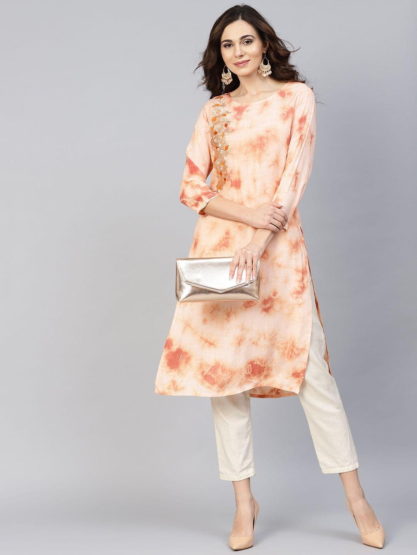 Women Peach-Coloured Dyed Straight Kurta