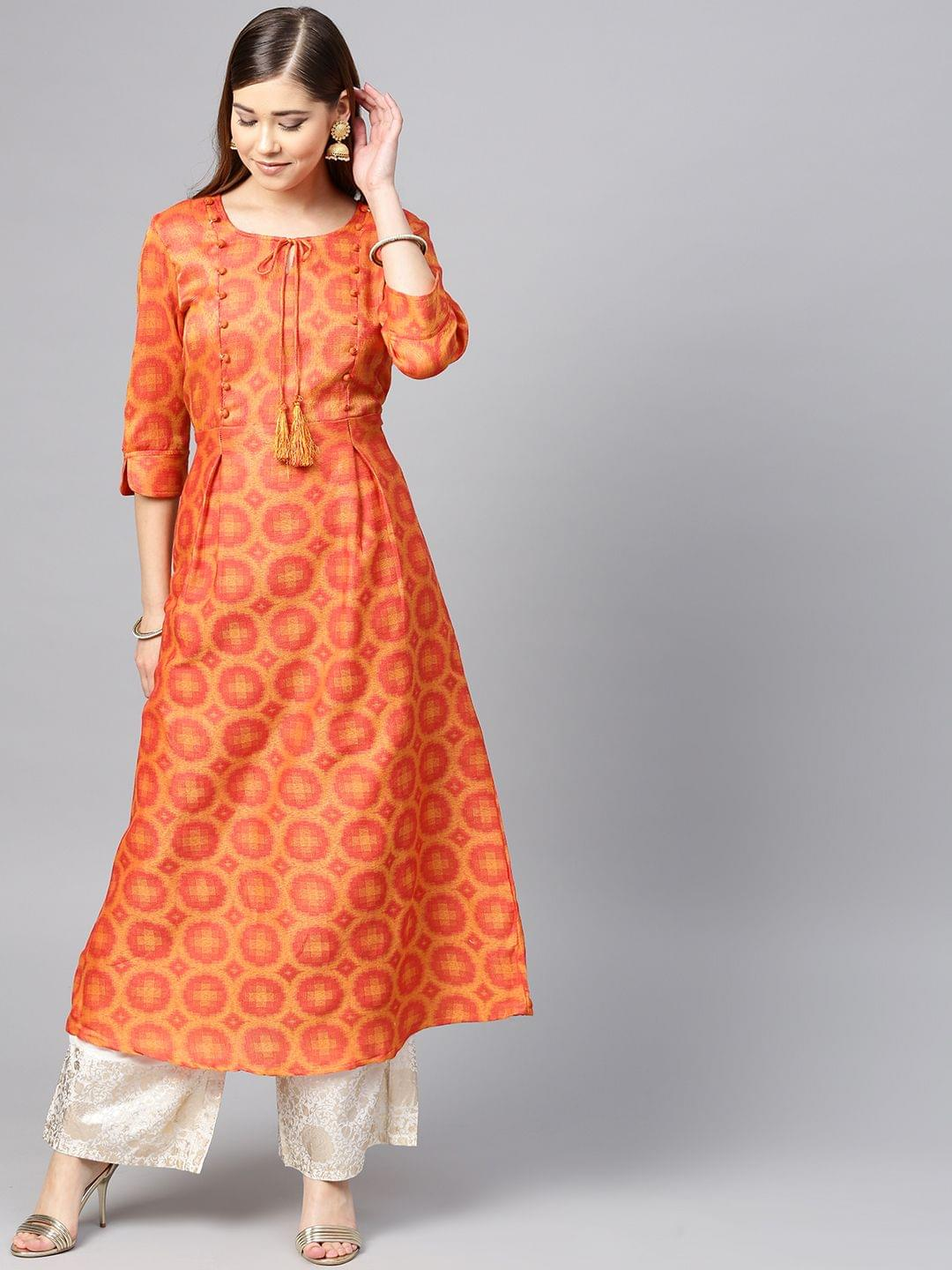 Women Orange & Red Woven Design A-Line Kurta