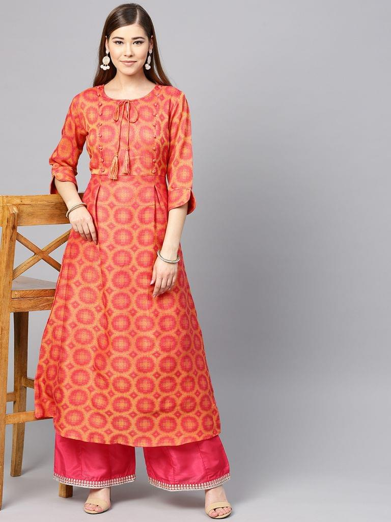 Women Coral Pink & Yellow Woven Design A-Line Kurta