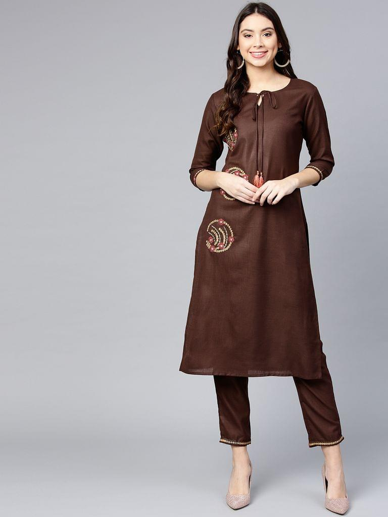 Women Brown Solid Kurta with Trousers