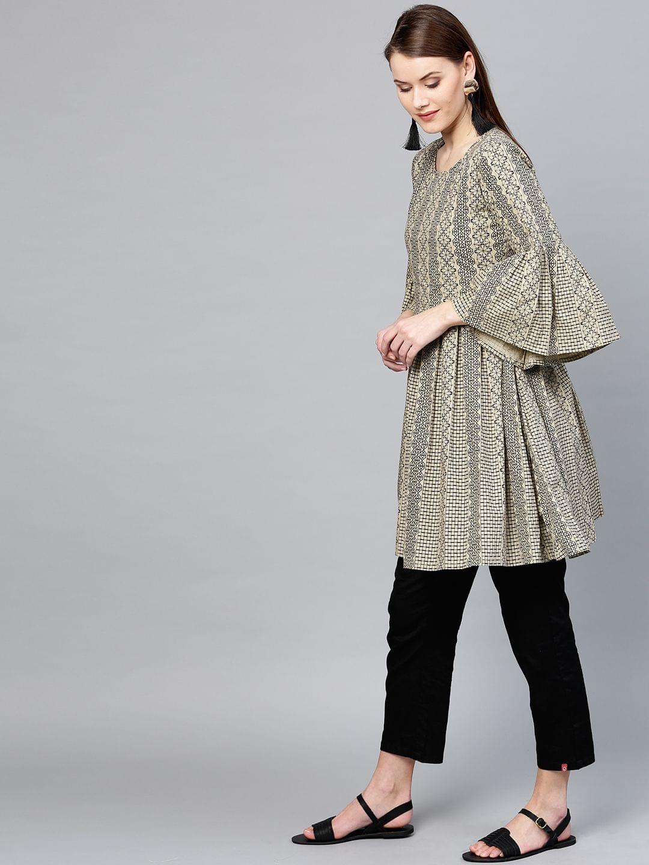 Yufta Beige & Black Printed Pleated A-Line Tunic