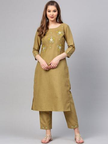 Yufta Women Green Yoke Design Kurta with Trousers