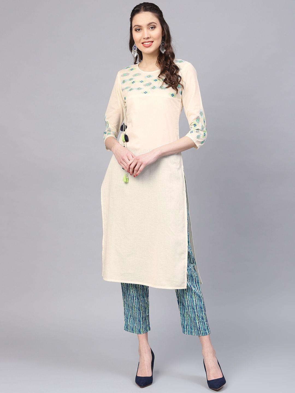 Yufta Women Off-White & Blue Yoke Design Kurta with Trousers