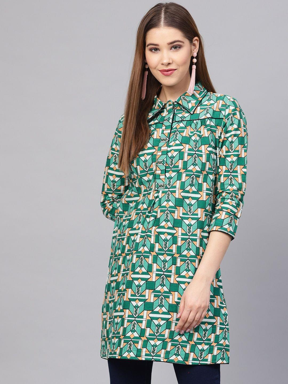 Yufta Green Printed Tunic