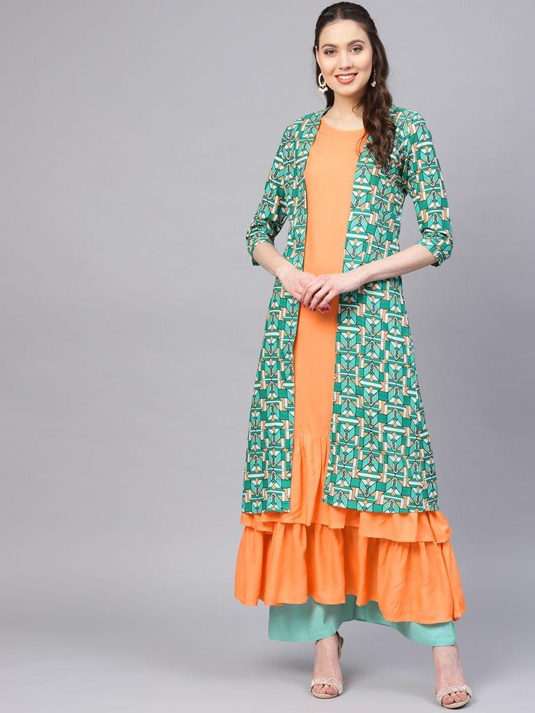 Yufta Women Orange & Green Printed Layered A-Line Kurta with Ethnic Jacket