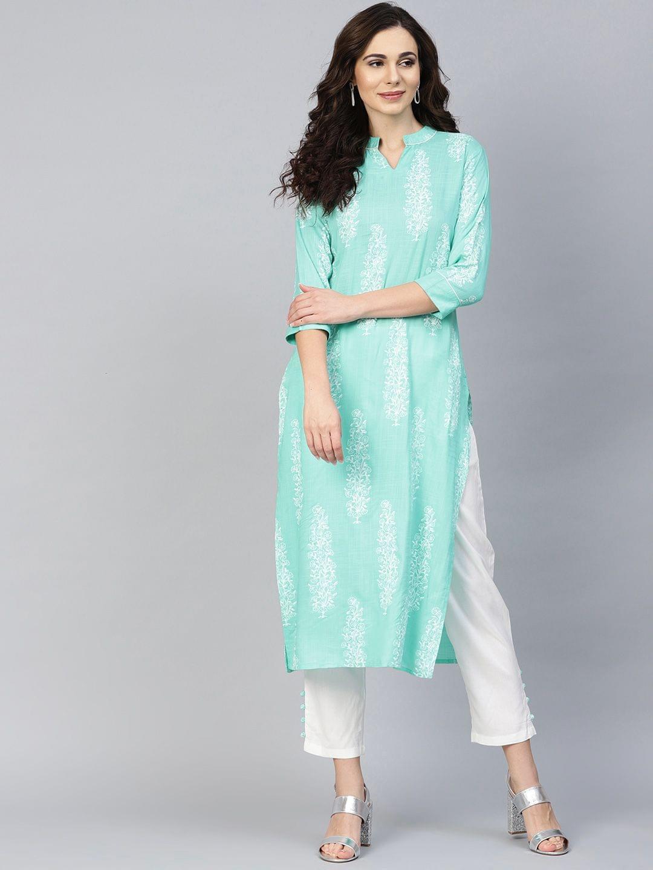 Yufta Women Green & White Printed Kurta with Trousers