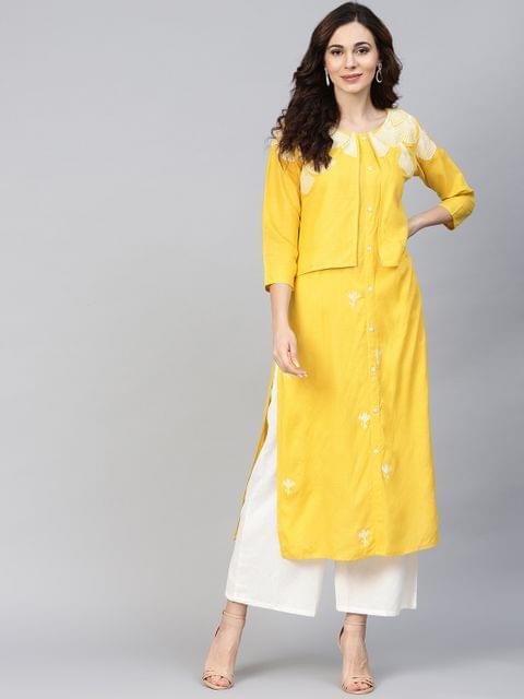 Yufta Women Yellow Embroidered Detail Straight Kurta
