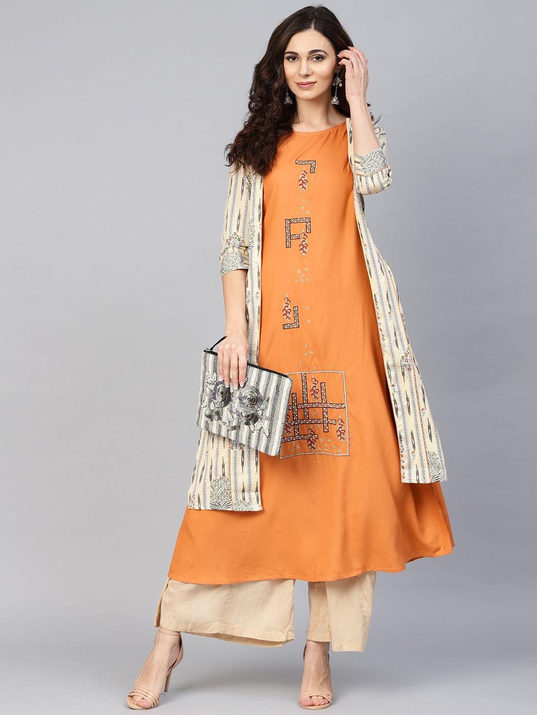 Yufta Women Orange Embroidered A-Line Kurta with Ethnic Jacket