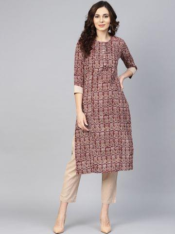 Yufta Women Maroon & Beige Printed Kurta with Trousers