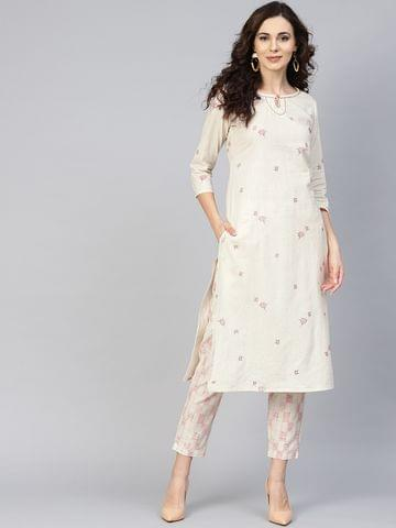 Yufta Women Off-White Printed Kurta with Trousers