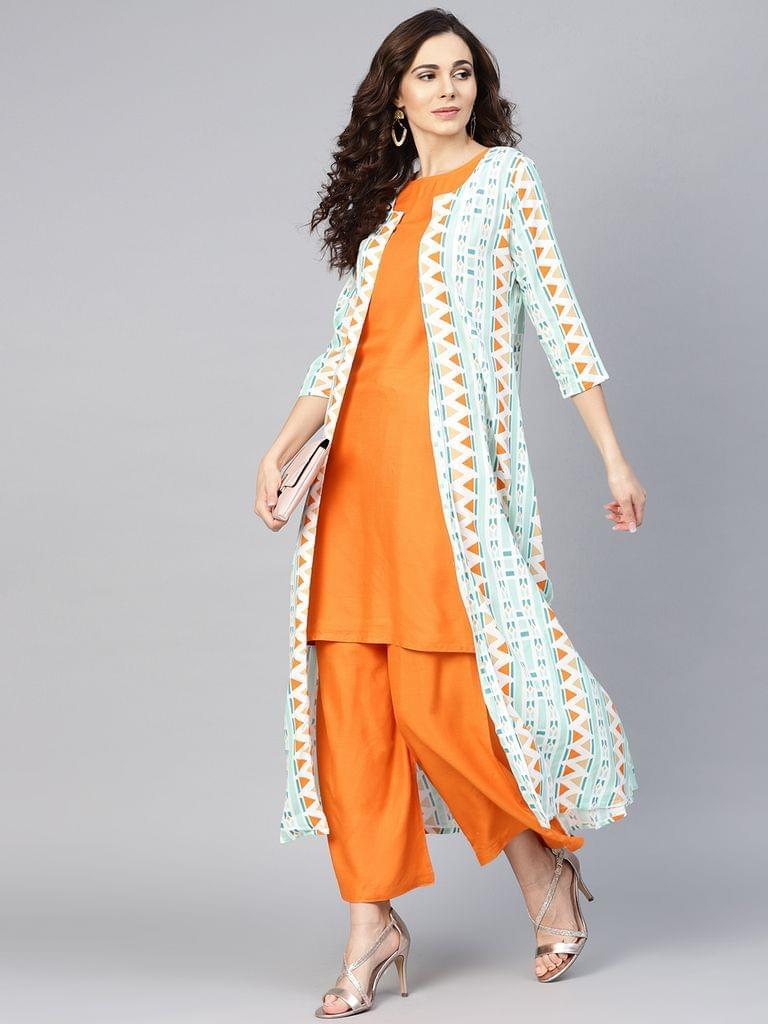 Yufta Women Orange & Green Solid Kurta with Palazzos & Ethnic Jacket