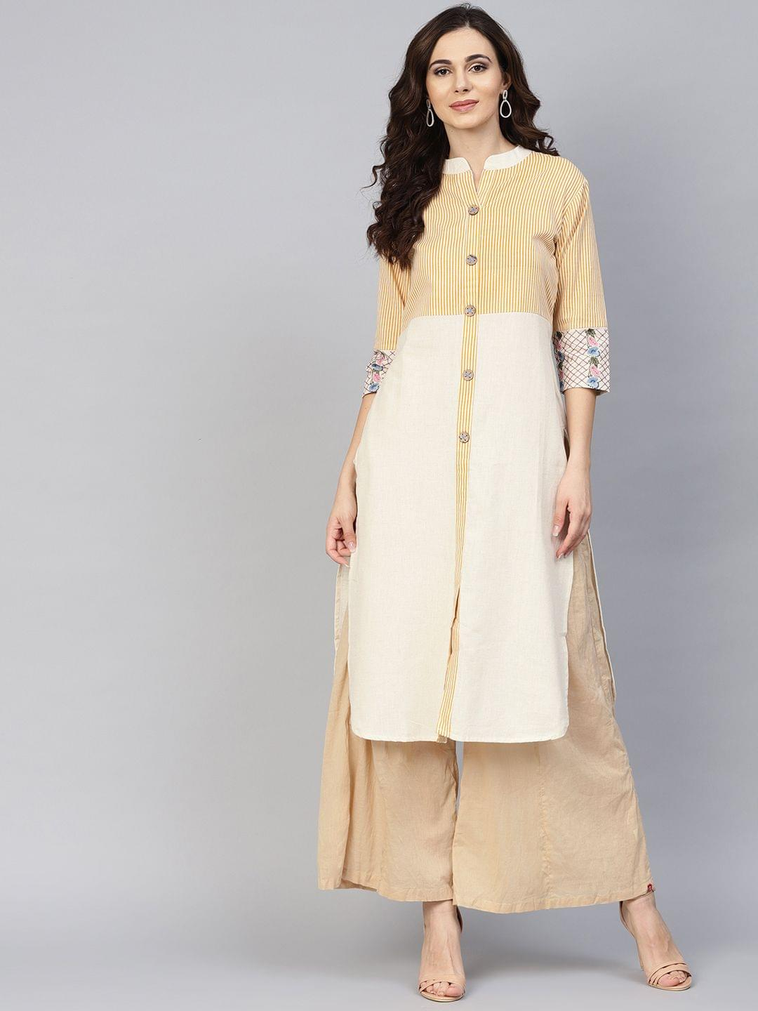 Yufta Women Off-White & Mustard Brown Striped Straight Kurta