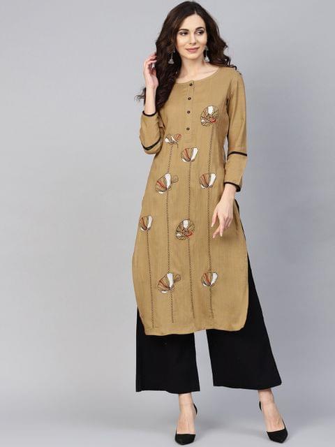 Yufta Women Brown Embroidered Straight Kurta