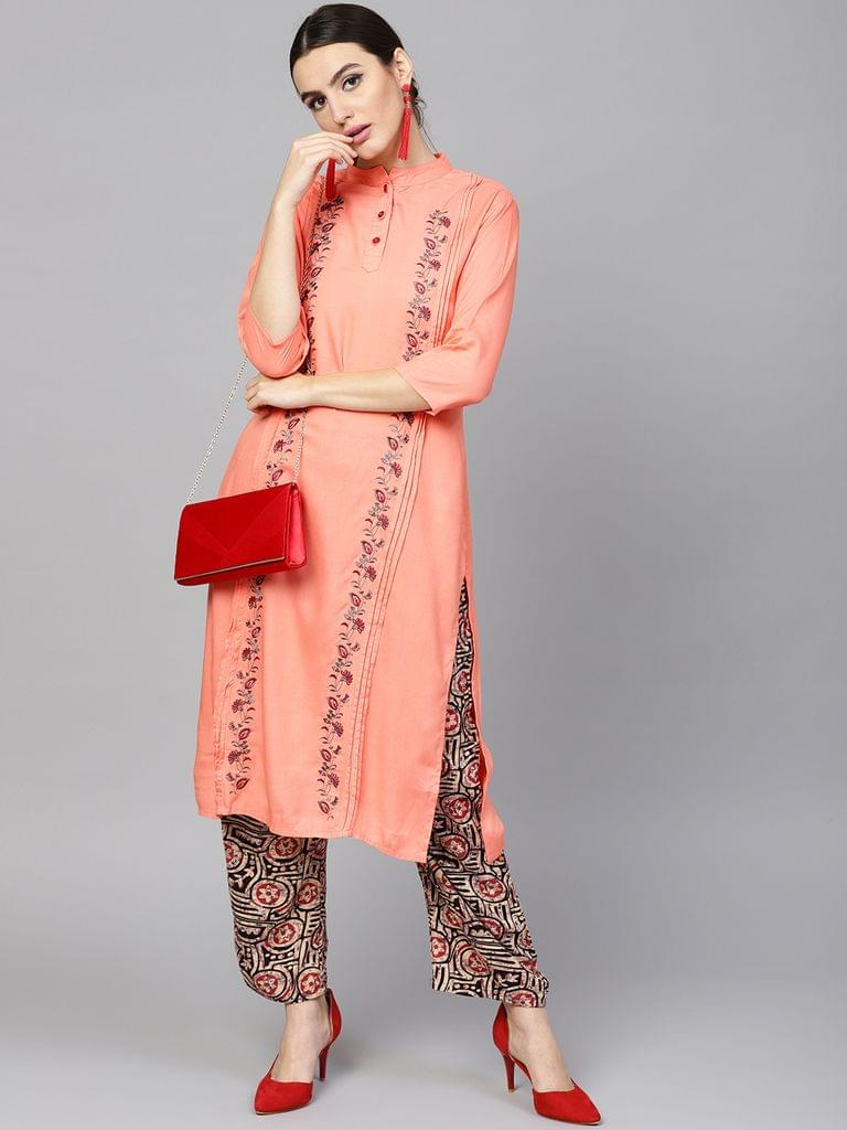 Yufta Women Peach-Coloured & Beige Embroidered Kurta with Palazzos