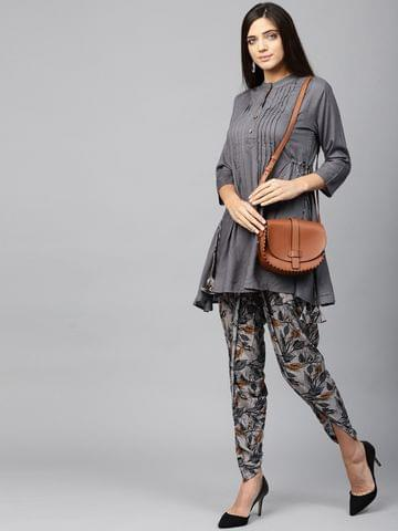 Yufta Women Grey Solid Kurta with Dhoti Pants