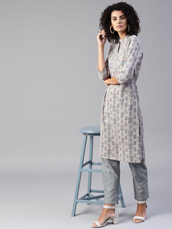 Yufta Women Grey Printed Kurta with Trousers