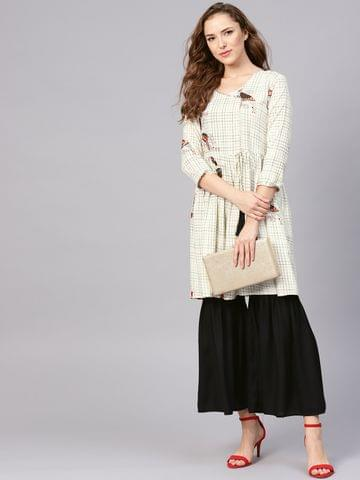 Yufta Women Off-White & Black Checked Kurta with Sharara