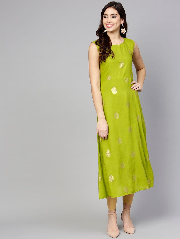 Yufta Women Green Printed A-Line Kurta