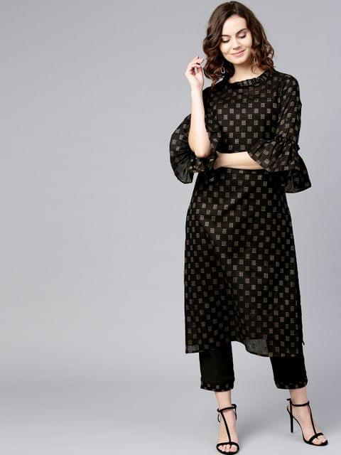 Yufta Women Black Printed Kurta with Trousers