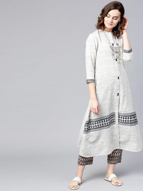 Yufta Women Off-White & Grey Woven Design A-Line Kurta