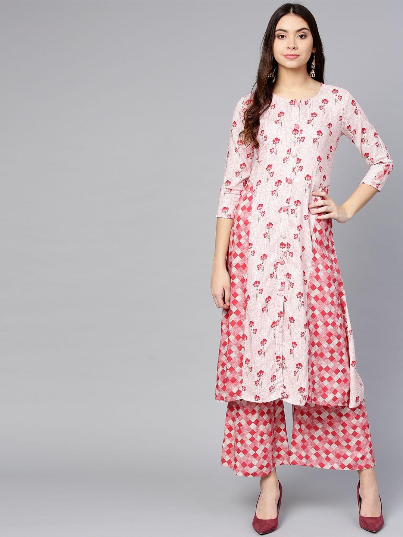 Yufta Women White & Pink Printed Kurta with Palazzos