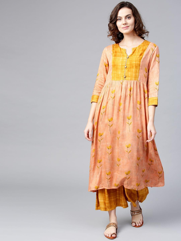 Yufta Women Peach-Coloured & Mustard Yellow Printed Kurta with Palazzos