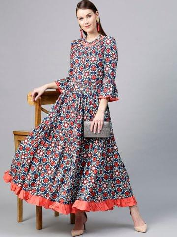Yufta Women Blue & Coral Orange Printed Anarkali Kurta