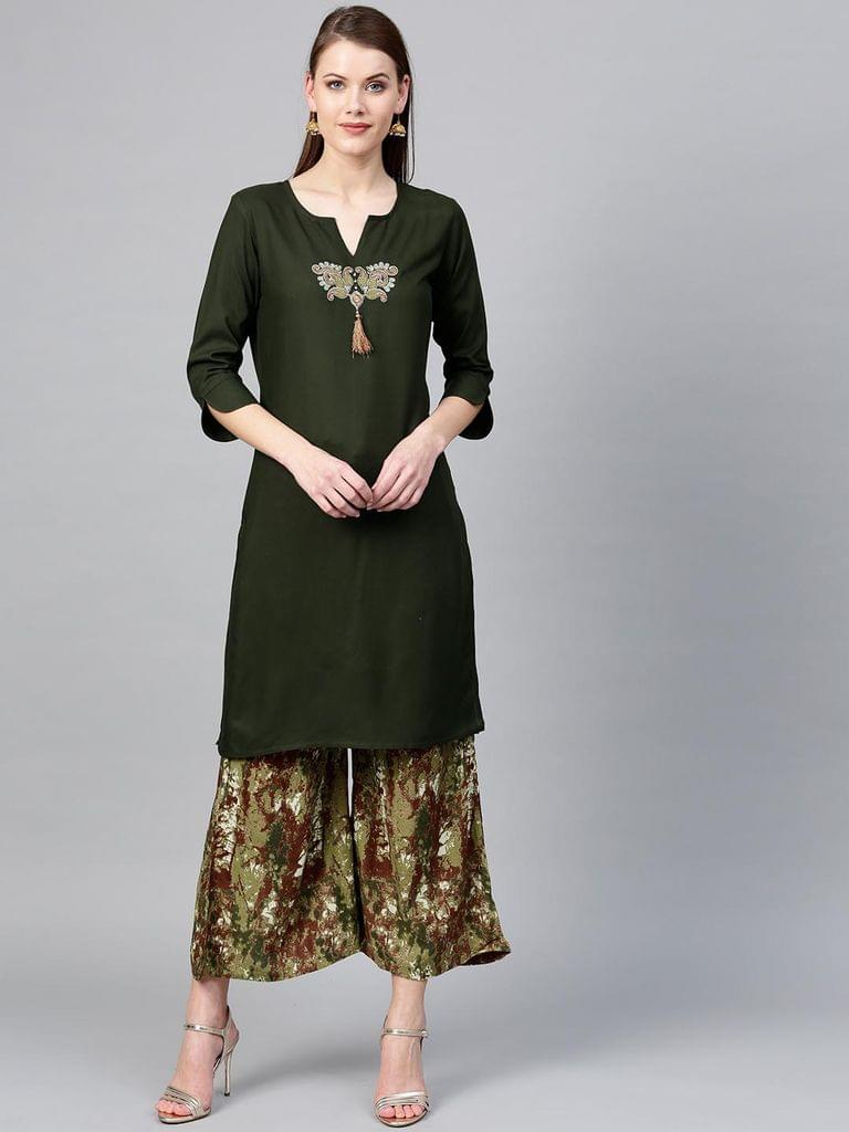 Yufta Women Olive Green & Maroon Yoke Design Kurta with Palazzos
