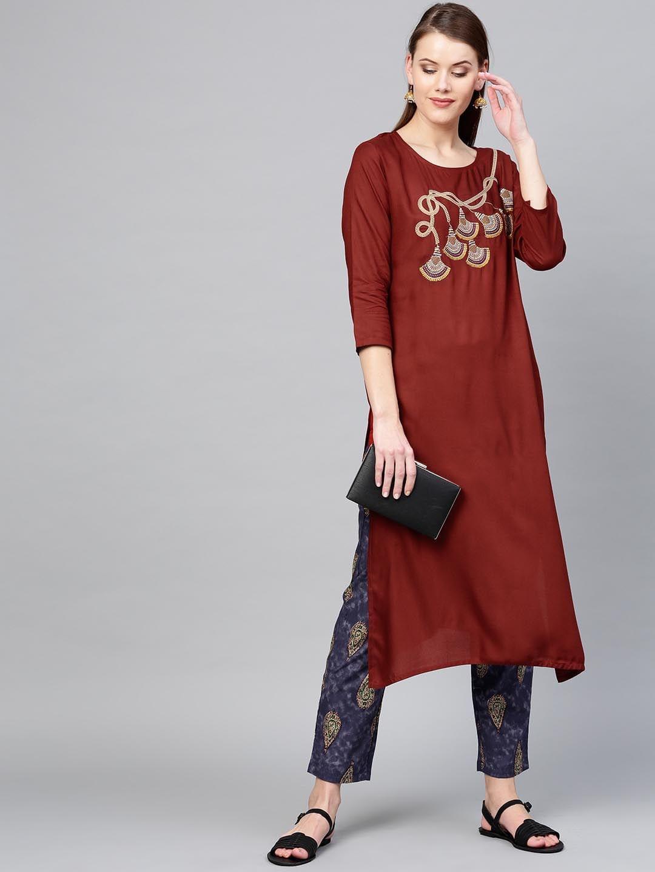 Yufta Women Maroon & Navy Yoke Design Kurta with Trousers