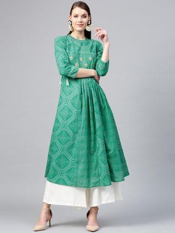 Yufta Women Green & White Bandhani Print A-Line Kurta