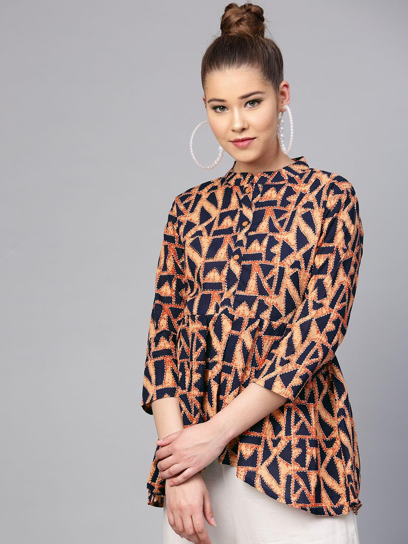 Yufta Orange & Navy Blue Printed Tunic