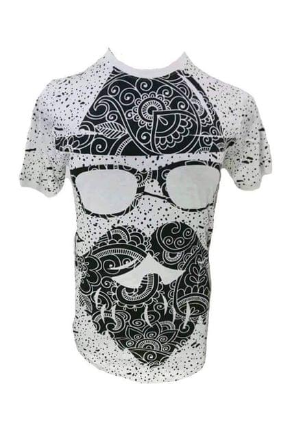 T SHIRT WHITE SPECTS BEARD MAN