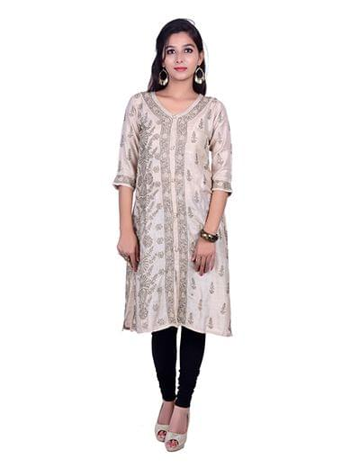 handmade seller login rohia by chhangamal embroidered grey silk chikan kurti 7082