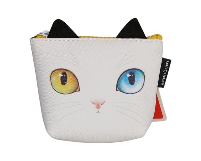 Ink The Town White Cat Eye Coin Purse