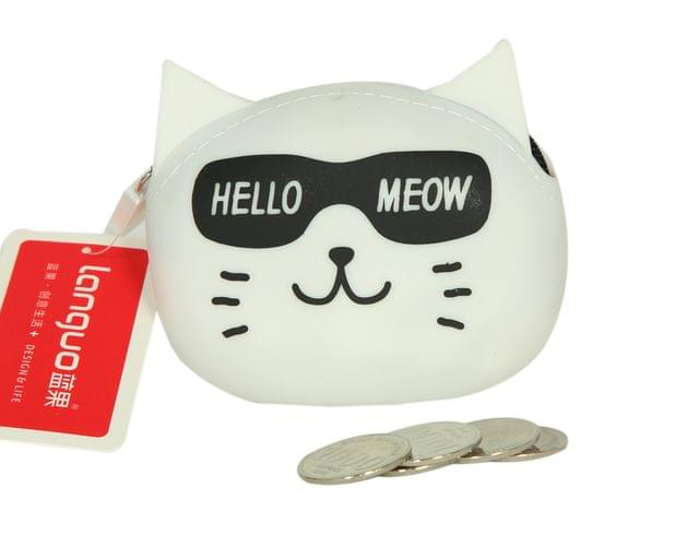Ink The Town White Cat Silicon Coin Purse