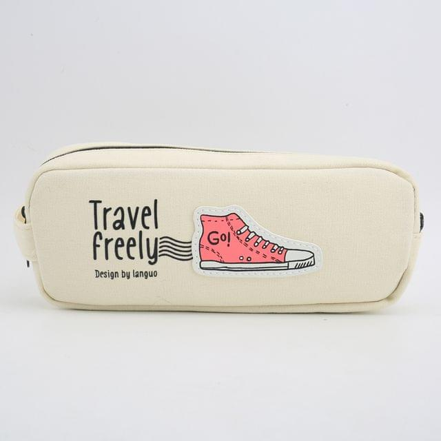 Ink The Town White Travel Pencil Pouch