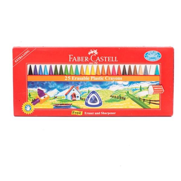 Faber Castell Erasable Plastic Crayons 110mm -15Shades