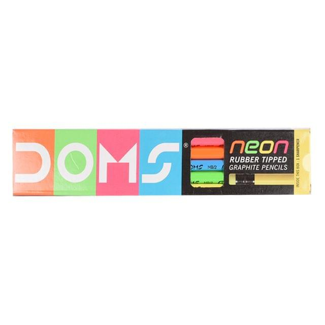 Doms Neon Rubber Tripped Graphite Pencils