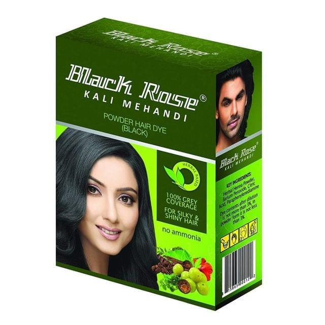 BLACK ROSE - KALI MEHANDI HAIR DYE - BLACK - 50 Gms