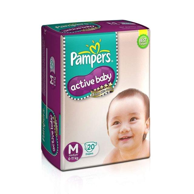 PAMPERS - ACTIVE BABY DIAPERS - MEDIUM - 20 DIAPERS