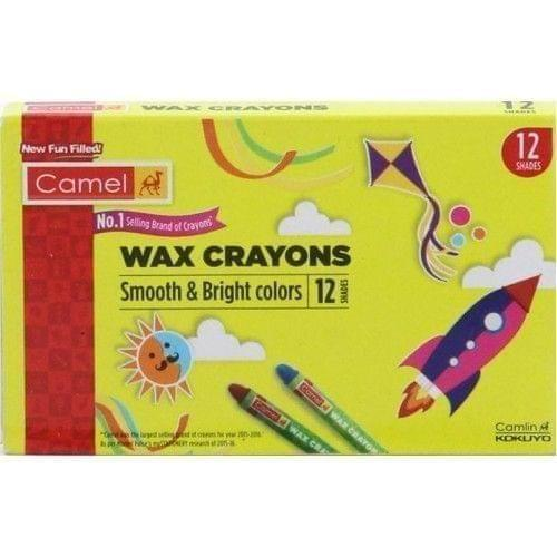 CAMEL - WAX CRAYONS - SMOOTH & BRIGHT COLOURS - 12 SHADES